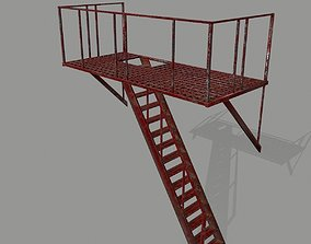 3D model low-poly Fire Escape stairway