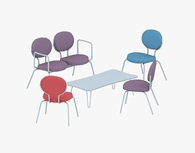 0585 - Table and Chairs Set 3D asset low-poly