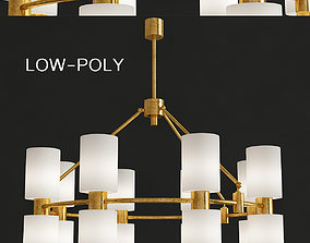 Frosted Ribbed Glass Shades Mounted Chandelier low-poly 3