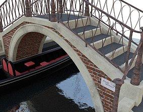 3D model venetian bridge with gondola