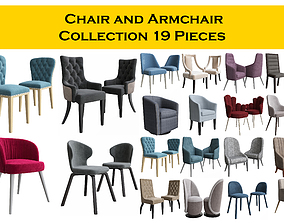 Chair and Armchair Collection 19 pieces 3D
