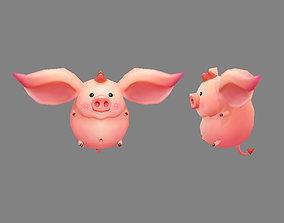 Cartoon piggy - Flying Pig 3D model realtime