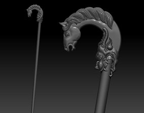 3D printable model Crutch with horse and dragon head