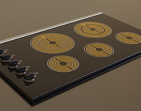 PBR model of an electric hob black finish 3D asset
