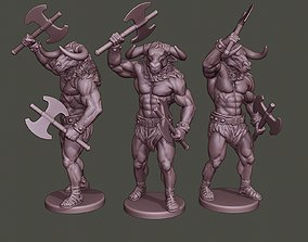 Minotaur Warrior Stand2 two Axes 3D printable model