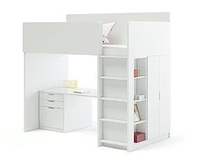 White Bunk Bed with Desk 3D