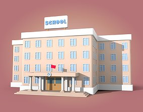 Cartoon School 3D model realtime