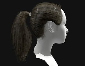 3D Hair Female Straight Ponytail Hairstyles realtime