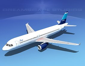 3D model rigged Airbus A320 LP Jet Blue