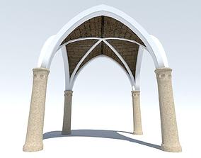 Ancient Cross Vault with Columns 3D asset