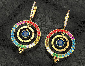 3D printable model Earrings with multi colored precious