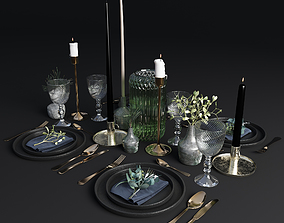 mistletoe Table setting 001 3D model