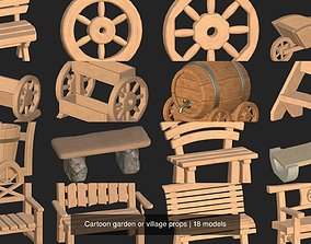 Cartoon garden or village props 3D model