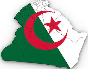 details 3d Political Map of Algeria