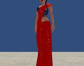 3D asset Low Poly Women Model With Saree
