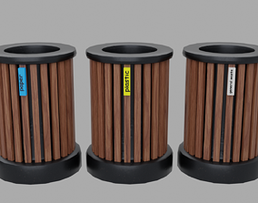 3D asset Trash can garbage sorting PBR