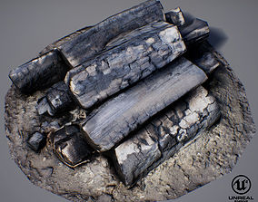 Burnt Firewood - Game Ready 3D asset