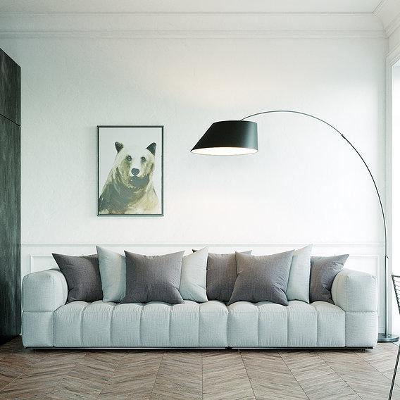 Black and White Neoclassic Interior