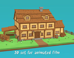 Medieval tavern - 3D set for animated film medieval