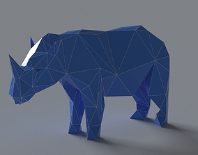 low-poly Rhino lowpoly 3D print model