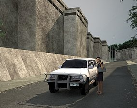 Low poly car 3D asset game-ready woman