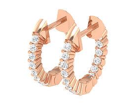 Women Earrings 3dm stl render detail solitaire jewelry