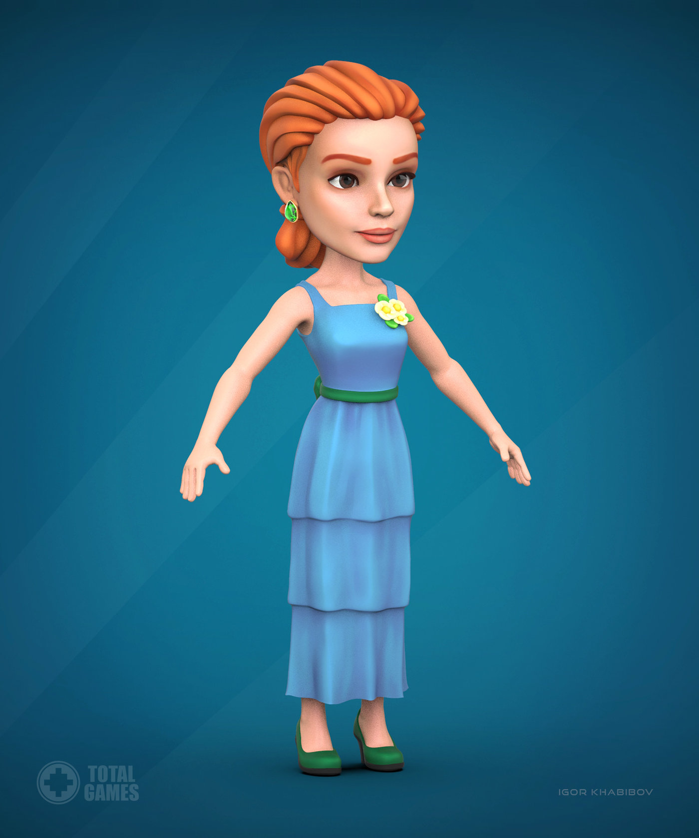 Stylized game character.