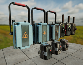 3D model low-poly Industrial switches