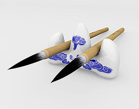 Chinese Calligraphy Brush Pen with Holder 3D asset