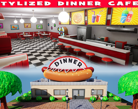 Stylized Dinner Cafe 3D model