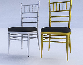 Gold and White Chair 3D asset