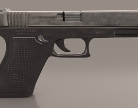 3D asset Gun Glock Low Polygon