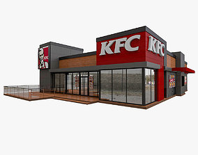 cafe 3D model KFC Fast Food Drive Thru Restaurant