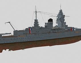 3D French battleship Dunkerque