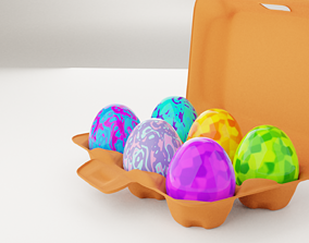 rigged Rigged Egg Box 3D Model Including 6 Easter Eggs