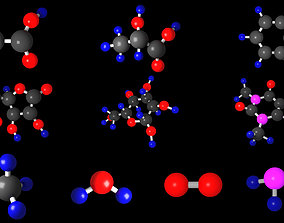 A collection of the most famous molecules 3D model