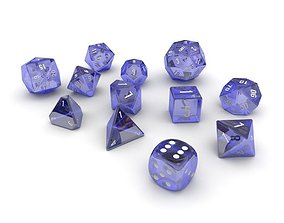 3D model Polyhedral Dice Set - Blue Glass