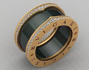 Bvlgari Diamond Gold Ceramic Ring 3D printable model