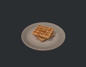 3D asset Plate of Waffles