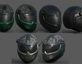 Helmets scifi military combat soldier fantasy low-poly 2