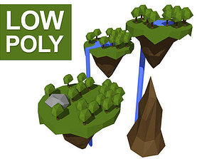 3D asset Low poly floating islands