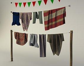 3D model rags on a hanger flag