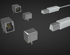 Usb type b male and female connector 3D model