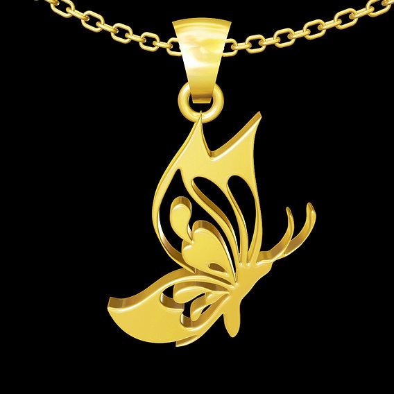 Butterfly V3 pendant jewelry gold necklace medallion 3D print model