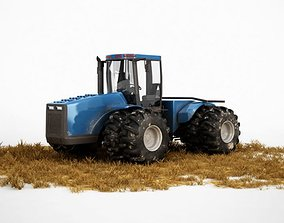3D model Industrial Blue Tractor