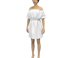 Dress in blue and white colors 3D model