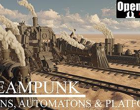 3D print model Steampunk trains automatons and platform 1