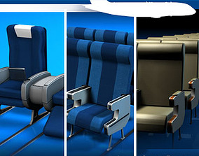 3D model Plane train seats collection