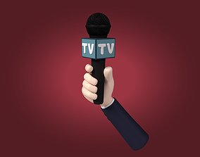 Cartoon Hand - Microphone 3D asset