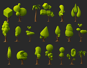 Creative low poly Tree 3d model collection realtime